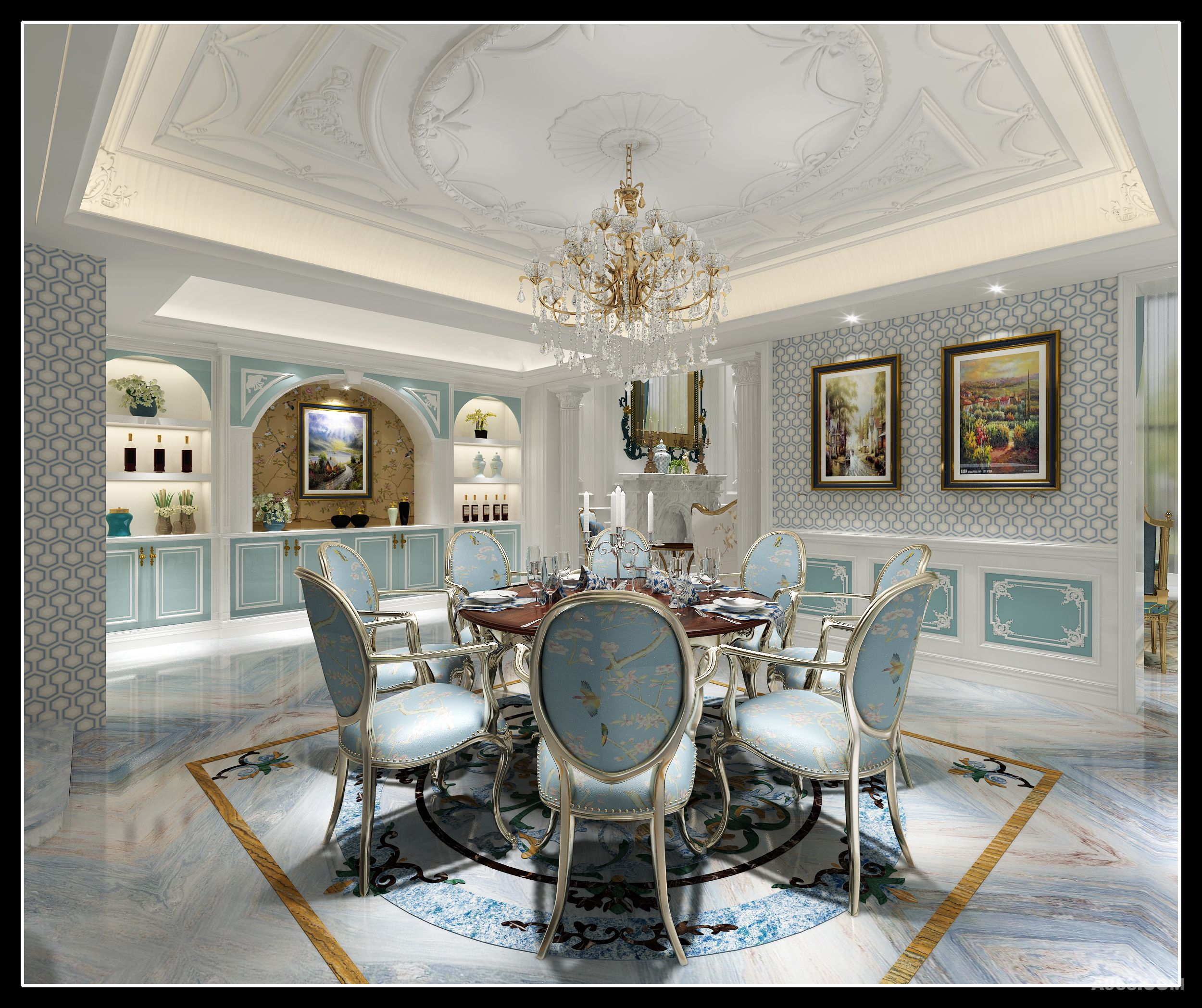 法式的内敛与典雅,墙上的灰色简约花纹柔和了复杂花纹石膏线与地面的图片
